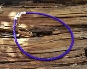 bracelet de cheville bleu cobalt plage surf lapis océan profond vacances porter maintenant avec les nouvelles perles de rocaille en verre tchèque
