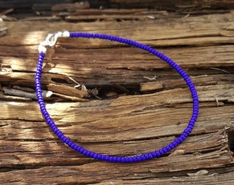 cobalt blue anklet beach surfing lapis deep ocean vacation wear Now with new Czech Glass seed beads