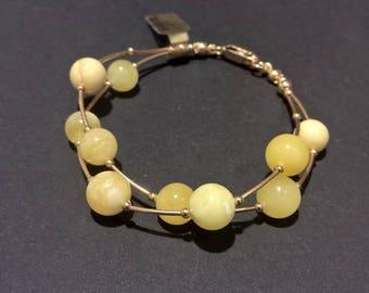 Amber bead bracelet. Gold- filled