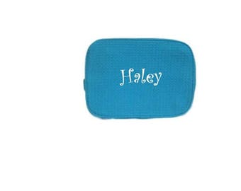 Personalized Makeup Bags - Blue - Cosmetic Bag - Large Makeup Bag