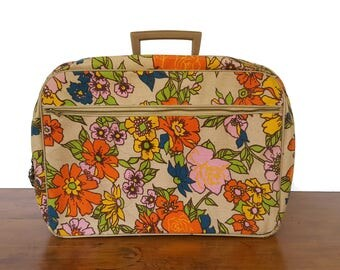 Vintage 70s Floral Fabric Suitcase Attache Luggage Orange Pink Mod Flower Power Carry On Valise Hippie Retro Travel Briefcase Japan