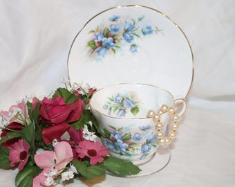 Vintage Queen's Fine Bone China Teacup & Saucer by Rosina China Co LTD - Made in England - Blue Forget Me Knots - English Tea Cup