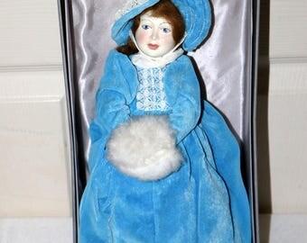 "Vintage Royal Dalton Doll - Excellent Condition - 12"" Doll - Blue Velvet - White Muff - Original Box"