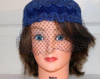 1950s Blue Velvet Pillbox Hat w/Veiling - Good Condition - Unmarked - Ladies Hat - Few Breaks in Veil
