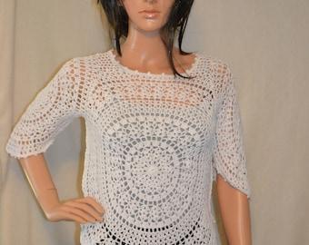 Sweet White Star  Hand Made Crochet Shirt / Custom made / Size 0 to 20