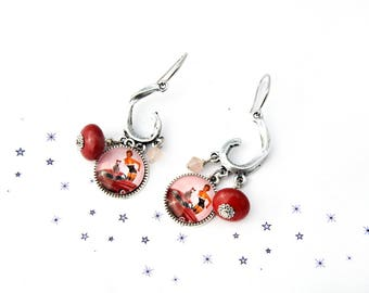 Earrings retro pinup Lampwork Glass Bead