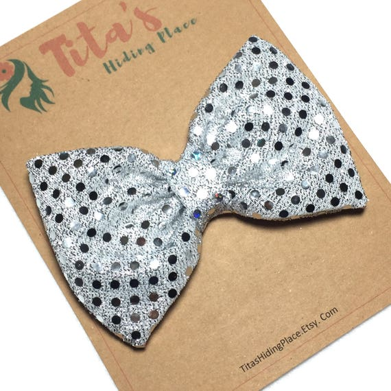 Silver Hair Bow, Sequin Hair Bow Clip, Glitter Baby Bow, Baby Head Band, Fabric Bow, Silver Bow Tie, Baby Bow, Cosplay Handmade Bow Tie