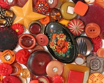 Red Peppers*Vintage Red Button Lot*Red and Butterscotch Button Pack*66 Buttons