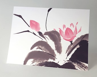 Happy Lotus A2 Size Note Cards Set of 8