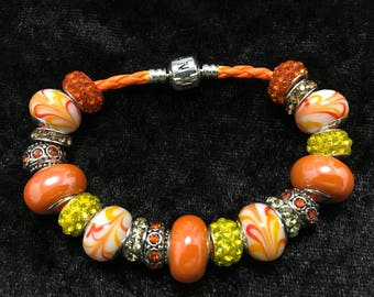 Unique Orange European Bracelet