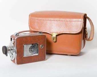 Keystone Riviera K-45 Magazine 8mm Movie Camera 1940s Original Leather Case