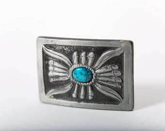 Retro Western Belt Buckle Turquoise Accent Native American Style 1970s