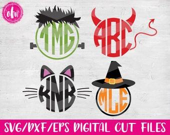 Halloween Monogram Set, SVG, DXF, EPS, Cut Files, Pumpkin, Witch, Frankenstein, Cat, Devil, Fall, Autumn, Vinyl, Silhouette, Cricut