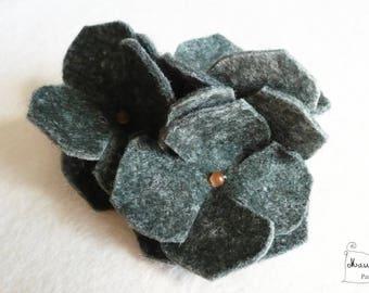 hair flower piece unique Midnight Blue hydrangeas