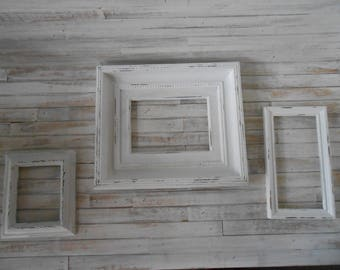 painted wall display frames vintage white frames 3 piece set white chalkpaint frames - White Vintage Picture Frames