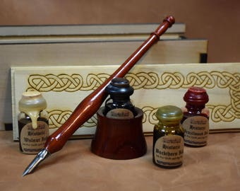 Historic writing kit - Celtic box, inks, hand turned pen, nibs, drop-in inkwell - Padauk wood