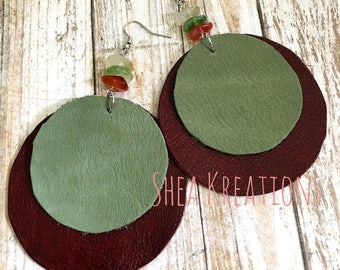 Leather Earrings, Hand Cut Circle Statement Jewelry, Top Selling Items