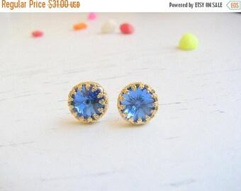 SALE - Royal blue studs earrings - Royal blue Earrings - Royal blue Post Earrings, Blue Royal Studs - Vintage blue earringd