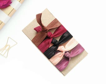 Summer Heat: 5 Handmade Hair Ties, Solid Colors, Elastic