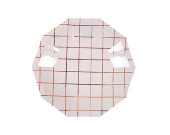 Rose Gold Small Grid Plates - metallic copper paper plates birthday dessert appetizer
