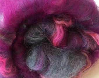 Carded Fibre Batt for Spinning and Felting/Art Batt/Spinning Pink and Grey with Wensleydale Locks