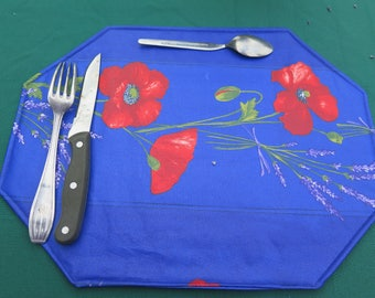 Placemats.Stain and water proof.Table protection. Perfect hostess gift. Oilcloth fabric, cotton coated. Set of placemats.Poppies in blue