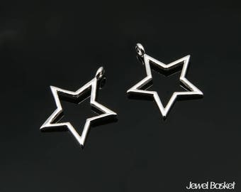 Star Pendant Outline in Rhodium - 2pieces of Star Outline / Shiny Rhodium / 14.5mm x 17.0mm / BS343-P (2pcs)