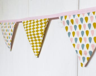 Pretty Garland 7 fabric flags mustard/pink drage/white/blue ice pattern drops and diamonds