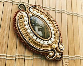 Handmade soutache pendant. Vegan friendly. Vegan gift. Handmade gift.