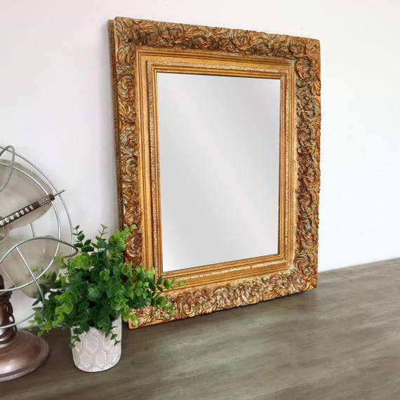 Small Decorative Mirror - Vintage Home Decor - Ornate Gold Mirror - Beveled Mirror - Mirror Wall Decor - French Country Wall Decor - Shabby