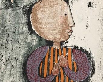 """Boulanger G.Rodo, Original Lithograph """"Enfant et oiseau 4"""" printed 1973  -e"""