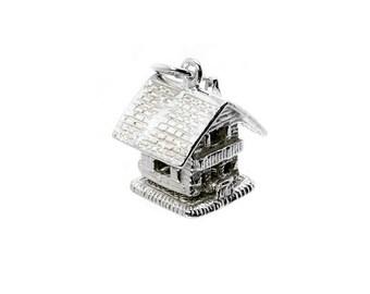 Sterling Silver Large Opening Swiss Ski Lodge/Chalet Charm For Bracelets