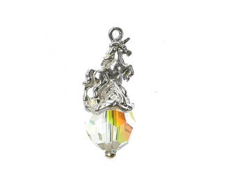 Sterling Silver & Swarovski Crystal Set Unicorn Charm For Bracelets