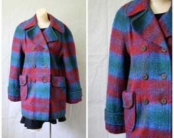 Sale 1970s Plaid  Mohair Coat / Vintage Burgundy Blue Striped Wool Coat / Vintage 70s Mohair Coat / Double Breasted Plaid Striped Wool Coat