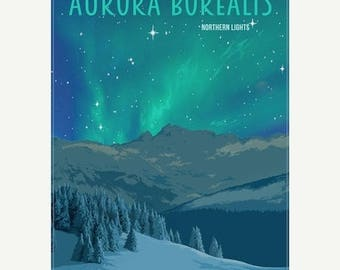20% OFF SALE Aurora Borealis Northern Lights Minimalist Wonders Poster