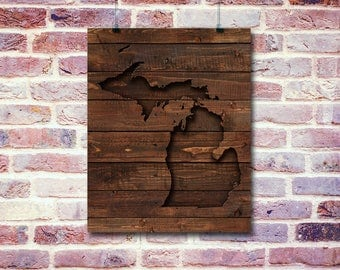 Michigan Digital Print | Digital Prints | Brown Carved Out Wood Look | 8 x 10 Digital Printables Wall Art | Wall Hangings | Michigan Prints