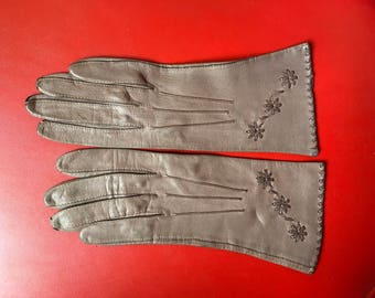 Vintage 50's Brown decorated leather gloves points