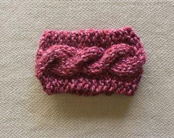 Cable knit earwarmer headband - chunky knit pink