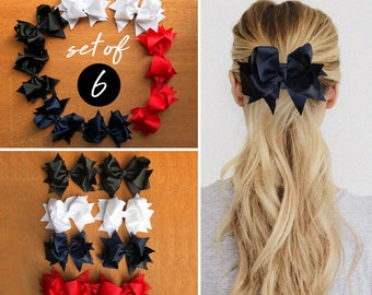 SET OF 6 Bow Hair Clips, Adorable Ribbon Bow Hair Clips, Back To School Hair Clip, Wavy Hair Clip, Large Bow Hair Clip, Fast Shipping