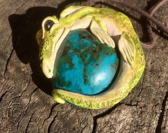 Chrysocolla Dragon Guardian Gemstone Crystal Healing Pendant