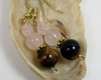 Rose Quartz and Tigers Eye Earrings, Rose Quartz Earrings,  Multi Crystal Earrings