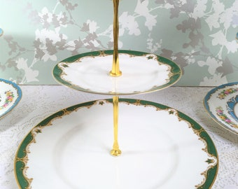 """Royal Worcester """" Connaught"""" Green 2 Tier Cake Stand"""