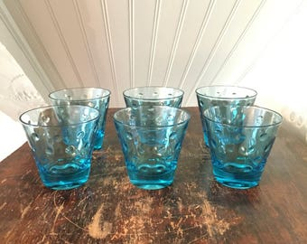 Vintage Mid-Century Set Of 6 Hazel Atlas Hazelware Capri Blue Polka Dot Rocks Old Fashioned Lowball Cocktail Glasses