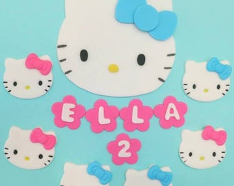 Hello Cat Kitty inspired Fondant cake and cupcake topper set