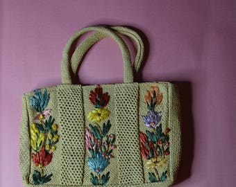 Straw Purse With Flowers Made in Jamaica