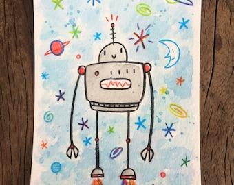 Happy Robot Original watercolor and pencil piece
