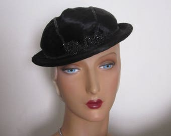 Noreen - 1930's Black Faux Fur Cloche Fedora Hat with Art Deco Jet Beading Decoration