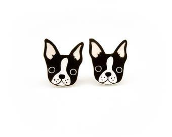 Boston Terrier Earrings, Boston Terrier Jewelry, Boston Terrier Jewellery, Dog Earrings, Dog Jewelry, Dog Jewellery, Shrink Plastic