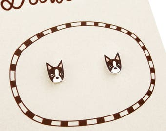 Red Brown Boston Terrier Earrings, Boston Terrier Jewelry, Tiny Earrings, Boston Terrier Jewellery, Dog Earrings, Shrink Plastic