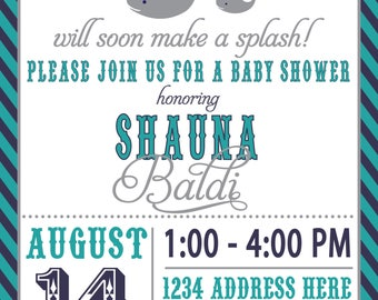 ON SALE! Couples Baby Shower Invitation Whale Invite, Whale baby shower invite, WHALE, make a splash